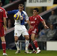 Photo: Jonathan Butler.<br />Blackburn Rovers v Liverpool. The Barclays Premiership. 26/12/2006.<br />Mark Gonzalez of Liverpool hands off David Bentley of Blackburn.
