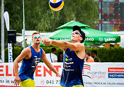 Nejc Zemljak of Debitel and Jernej Potocnik of Debitel during Qlandia Beach Challenge 2015 and Beach Volleyball Slovenian National Championship 2015, on July 25, 2015 in Kranj, Slovenia. Photo by Ziga Zupan / Sportida