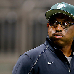 Aug 29, 2013; New Orleans, LA, USA; Tulane Green Wave head coach Curtis Johnson on the field before a game against the Jackson State Tigers at the Mercedes-Benz Superdome. Mandatory Credit: Derick E. Hingle-USA TODAY Sports