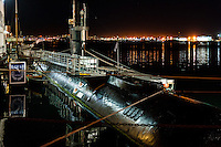 United States, California, San Diego. The Marina district in Downtown San Diego. The Maritime Museum of San Diego. USS Dolphin, a diesel-electric submarine launched in 1968.