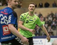 HÅNDBOLD: Nicolai Pedersen (Nordsjælland) under kampen i 888-Ligaen mellem Nordsjælland Håndbold og TTH Holstebro den 28. marts 2018 i Helsingør Hallen. Foto: Claus Birch.