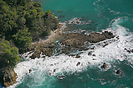 Aerial photo of rainforest and coast between Sirena and La Leona Ranger Stations. Corcovado National Park, Osa Peninsula, Costa Rica.  <br />
