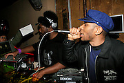 "Mos Def and Questlove at The Roots Album realease party for ""Roots Down"" at Sutra on April 29, 2008"".. The Legendary Roots Crew, the influential, Grammy Award-winning American band from Philadelphia, Pennsylvania, famed for a heavily jazzy sound and live instrumentation, have made 10 Albums to date."