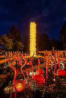 """Saffron Tower & Cattails"", Dale Chihuly Exhibition (blown glass), Denver Botanic Gardens, Denver, Colorado USA."