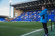 Forest Green Rovers manager, Mark Cooper watches on during the warm up during the Vanarama National League match between Tranmere Rovers and Forest Green Rovers at Prenton Park, Birkenhead, England on 11 April 2017. Photo by Shane Healey.