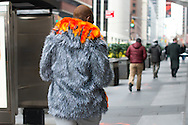 Silver Faux Fur Jacket with Flames, NYFWM Day 1