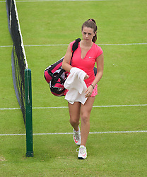 LIVERPOOL, ENGLAND - Wednesday, June 17, 2015: Ellie Tsimbilakis during the women's qualifying final during Kids Day of the Liverpool Hope University International Tennis Tournament at Liverpool Cricket Club. (Pic by David Rawcliffe/Propaganda)