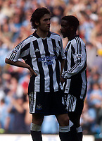 Photo. Glyn Thomas, Digitalsport<br /> NORWAY ONLY <br /> <br /> Manchester City v Newcastle United. <br /> FA Barclaycard Premiership. 01/05/2004.<br /> Newcastle's Hugo Viana (L) and Olivier Bernard contemplate their side's disappointing 1-0 defeat.
