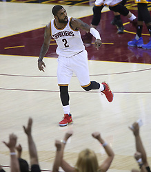 The Cleveland Cavaliers' Kyrie Irving reacts after hitting a 3-point shot late in the fourth quarter against the Golden State Warriors during Game 4 of the NBA Finals at Quicken Loans Arena in Cleveland on Friday, June 9, 2017. The Cavs won, 137-116, trimming their series deficit to 3-1. (Photo by Phil Masturzo/Akron Beacon Journal/TNS) *** Please Use Credit from Credit Field ***