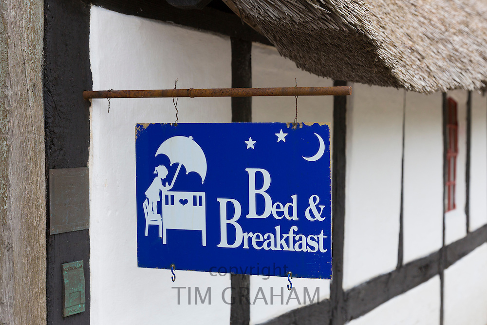 Sign for old half-timbered thatched Solbjerggaard bed and breakfast hotel in Millinge, Denmark