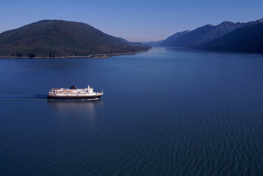 Alaska. M/V Kennicott sails up the Gastineau Channel toward Juneau.
