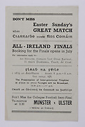 Interprovincial Railway Cup Football Cup Final, 17.03.1945, 03.17.1945, 17th March 1945,  Connacht 0-06, Leinster 2-05,.Interprovincial Railway Cup Hurling Cup Final, 17.03.1945, 03.17.1945, 17th March 1945,  Ulster 2-00, Munster 6-08