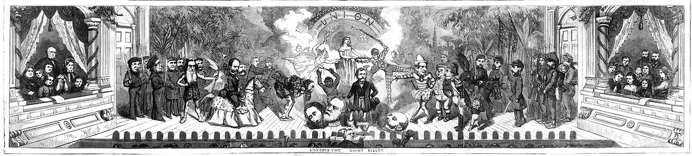 Detail: 1865 Christmas by Nast.  Harper's Weekly December 1865  by Thomas Nast. A theater stage scene with figures from the Civil War celebrating the Union's Victory, showing Grant, Lee and others as the closing act of the War.