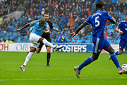 Fernandinho (25) of Manchester City shoots at goal during the Premier League match between Cardiff City and Manchester City at the Cardiff City Stadium, Cardiff, Wales on 22 September 2018.