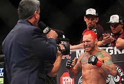 Las Vegas, NV - December 29, 2012: Chris Leben is announced by Bruce Buffer prior to his bout against Derek Brunson at UFC 155 at MGM Grand Garden Arena in Las Vegas, Nevada.