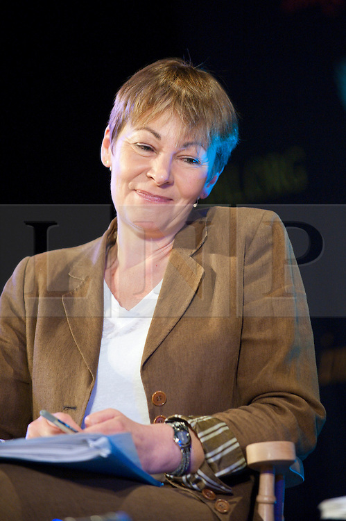 © London News Pictures. 29/05/2015. Hay-on-Wye, Powys, Wales, UK. Caroline Lucas in conversation with Andrew Simms & David Boyle at the Hay Festival 2015. Photo credit: Graham M. Lawrence/LNP.