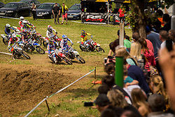 Tim Gajser and Klemen Gercar in front of group after start of MX Open and MX2 National Championship of Slovenia on 17 of May 2015 in Prilipe, Brezice, Slovenia. (Photo by Grega Valancic / Sportida.com)