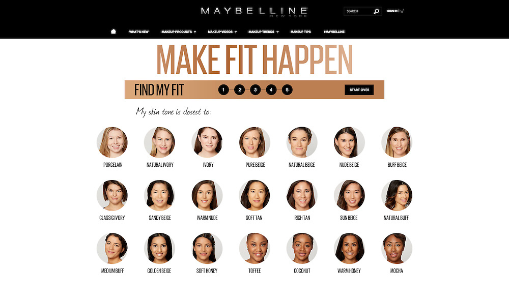 Maybelline Find My Fit Diagnostic Tool