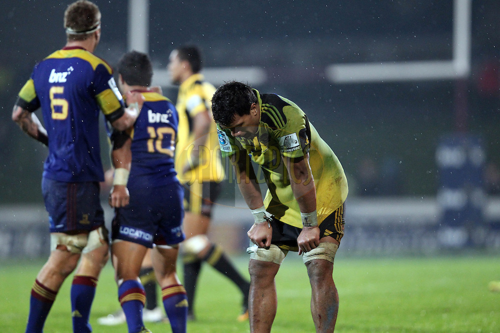 Faifili Levave shows his despair after the Hurricanes loss to the Highlanders..Investec Super Rugby - Highlanders v Hurricanes, 13 May 2011, Rugby Park, Invercargill, New Zealand..Photo: Rob Jefferies / www.photosport.co.nz