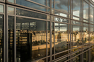 France. Paris. elevated view. Institut du monde arabe, the terace with a view on the Seine River, Notre dame and Saint Louis island PDV 05