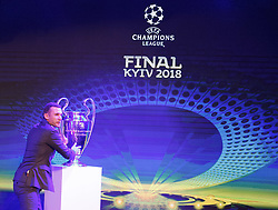 December 12, 2017 - Kiev, Ukraine - Ukraine's national soccer team coach Andriy Shevchenko poses with the UEFA Champions League trophy, during the presentation of the logo of the 2018 Champions League final soccer match in Kiev, Ukraine, 12 December, 2017.  The UEFA Champions League final will be played at the Olimpiyskiy stadium on 26 May 2018 in Kiev. (Credit Image: © Str/NurPhoto via ZUMA Press)