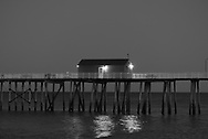 Fishing Pier at Dusk  in Black and White