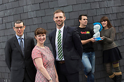 Repro Free: 11/10/2013 Donal Flynn, Group Finance Director, ESB, David Scanlon, Enterprise Ireland and Clare Dilion, Microsof are pictured with Ollie Fegan of Temptster and Iseult Ward of Foodcloud, two of the 30 shortlisted companies chosen finalists in Ireland's most prestigious start-up competition, The ESB Spark of Genius Award. The winner of which will be announced at the Dublin Web Summit on October 31st with a cash prize of €25,000 plus a fund of services. Picture Andres Poveda