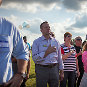 Prince William County Supervisor, Corey Stewart holds his hand over his heart during the National Anthem, during an appearance at the Page County , VA GOP Jamboree, in Luray, VA on Saturday, June 25, 2016.  Stewart ran the Trump operation in Virginia and is running for Governor in 2017.  Stewart mingled with guests and made a brief speech, along with other candidates for political office in Virginia.  John Boal Photography