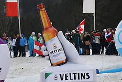 03.02.2017, Heini Klopfer Skiflugschanze, Oberstdorf, GER, FIS Weltcup Ski Sprung, Oberstdorf, Skifliegen, im Bild Veltins Bierflasche und Fans im Hintergrund // Veltins Bierflasche und Fans im Hintergrund during mens FIS Ski Flying World Cup at the Heini Klopfer Skiflugschanze in Oberstdorf, Germany on 2017/02/03. EXPA Pictures © 2017, PhotoCredit: EXPA/ Sammy Minkoff<br /> <br /> *****ATTENTION - OUT of GER*****