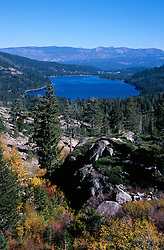 &quot;Donner Lake in Autumn&quot;- Photographed facing east from Donner Summit near China Wall. The town of Truckee, CA can be seen at the far end of Donner Lake.<br /> Photographed: October 2005