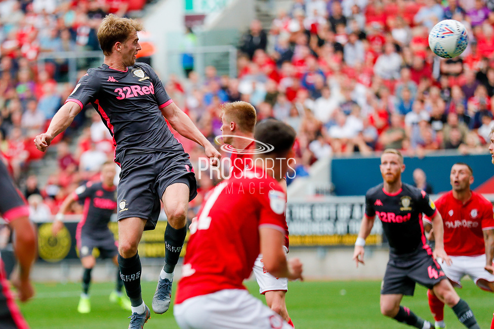 Leeds United forward Patrick Bamford (9) scores a goal to make the score 0-2 during the EFL Sky Bet Championship match between Bristol City and Leeds United at Ashton Gate, Bristol, England on 4 August 2019.