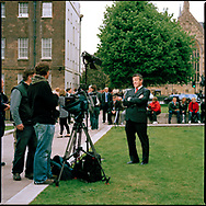 UK. London. The Village Green: From Blair to Brexit.<br /> A story on the relationship between the Media, Politicians and the public as they come together on College Green, a small patch of land next to The Houses of Parliament in Westminster. <br /> Photo shows an American journalist and film crew on the day Gordon Brown succeeded Tony Blair as Britain's Prime Minister.<br /> Photo &copy;Steve Forrest/Workers' Photos