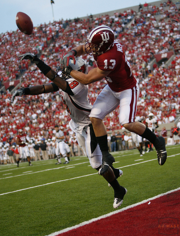 20 September 2008: Indiana wide receiver Andrew Means (13)  as the Indiana Hoosiers played the Ball State Cardnials in a college football game in Bloomington, Ind....