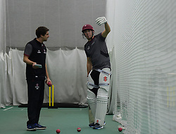 Somerset's Jamie Overton talks to Academy coach Steve Snell. - Mandatory byline: Alex Davidson/JMP - 25/02/2016 - CRICKET - The Cooper Associates County Ground -Taunton,England - Somerset CCC  Media access - Pre-Season
