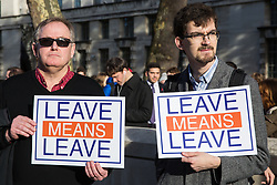 London, UK. 14th November, 2018. Pro-Brexit activists from Leave Means Leave protest outside Downing Street on the day on which Prime Minister Theresa May convened an emergency Brexit Cabinet meeting to seek Cabinet approval of a draft of the final Brexit agreement.