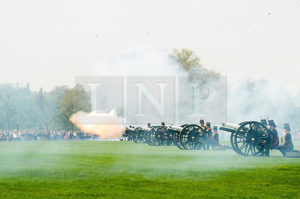 © Licensed to London News Pictures. 22/04/2019. London, UK. The King's Troop Royal Horse Artillery fire a 41 Gun Royal Salute in Hyde Park in honor of HRH Queen Elizabeth 93rd Birthday. Photo credit: Ray Tang/LNP