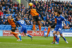 Benik Afobe of Wolverhampton Wanderers heads a shot over the bar - Photo mandatory by-line: Rogan Thomson/JMP - 07966 386802 - 28/02/2015 - SPORT - FOOTBALL - Cardiff, Wales - Cardiff City Stadium - Cardiff City v Wolverhampton Wanderers - Sky Bet Championship.