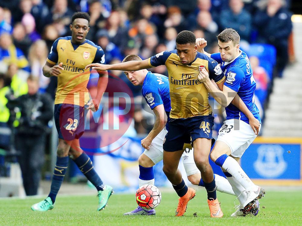 Arsenal's Alex Iwobi battles with Everton's Seamus Coleman  - Mandatory byline: Matt McNulty/JMP - 19/03/2016 - FOOTBALL - Goodison Park - Liverpool, England - Everton v Arsenal - Barclays Premier League