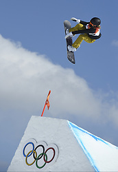 February 12, 2018 - Pyeongchang, South Korea - Silje Norendal of Norway takes a jump during the Womens Snowboard Slopestyle finals at Phoenix Snow Park at the Pyeongchang Winter Olympic Games.  Norendal placed fourth. (Credit Image: © Mark Reis via ZUMA Wire)