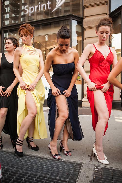 Dancers show their legs.