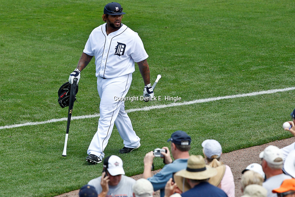 March 14, 2012; Lakeland, FL, USA; Detroit Tigers first baseman Prince Fielder (28) before  a spring training game against the New York Mets at Joker Marchant Stadium. Mandatory Credit: Derick E. Hingle-US PRESSWIRE
