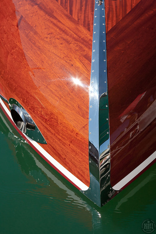 """""""Wooden Boat on Lake Tahoe 1"""" - This abstract photo of a classic wood boat was taken at the 2011 Tahoe Concours d'Elegance."""