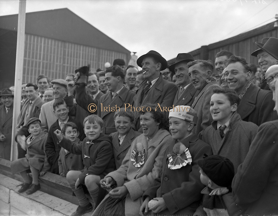 15/02/1959<br /> 02/15/1959<br /> 15 February 1959<br /> Soccer, F.A.I. Cup: Waterford v Transport at Harold's Cross, Dublin. Waterford supporters turned out in force for the game.