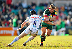 Tom Youngs of Leicester Tigers looks to get past Matt Jess of Exeter Chiefs - Photo mandatory by-line: Patrick Khachfe/JMP - Mobile: 07966 386802 28/03/2015 - SPORT - RUGBY UNION - Leicester - Welford Road - Leicester Tigers v Exeter Chiefs - Aviva Premiership
