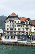 Lucerne, SWITZERLAND<br /> <br /> A general view, off the steamer stop at Brunnen and the  mountains surrounding Lake Lucerne, . Day trip on Lake Lucerne.<br /> <br /> Wednesday  <br />  <br />   25.05.2017<br /> <br /> <br /> © Peter SPURRIER<br /> <br /> Panasonic  DMC-LX100  f11  1/200sec  28mm  3.9MB