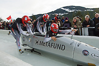 The Austrian team of Wolfgang Stampfer, Johannes Wipplinger, Hans-Peter Welz and Martin Lachkovics compete in the Mens' four-person bobsleigh World Cup competition held at the Whistler Sliding Centre on Feb 7, 2009