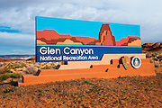 Glen Canyon National Recreation Area sign, Page, Arizona USA