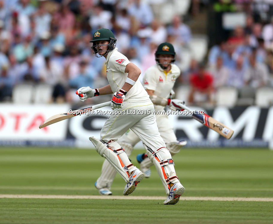 Steve Smith bats with Chris Rogers (right) during the second Investec Ashes Test Match between England and Australia at Lord's Cricket Ground, London. Photo: Graham Morris/www.cricketpix.com (Tel: +44 (0)20 8969 4192; Email: graham@cricketpix.com) 16072015