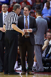 22 November 2017:  Randy Heimerman explains a call to Ryan Hellenthal during a College mens basketball game between the Quincy Hawks and Illinois State Redbirds in  Redbird Arena, Normal IL