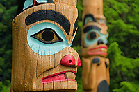 Hand carved reproductions of old and damaged Tlingit totem poles on display at Saxman Totem Park; Alaska